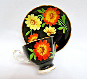 Vintage Tuscan England Bone China Cup And Saucer Black With Daisies