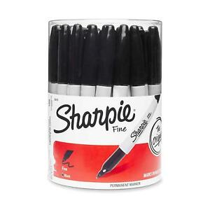 Sharpie Markers Fine Point Permanent Marker Black Canister 36 Pens Writing Lot