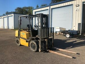 Yale Gdp080l 8 000lb Pneumatic Forklift Diesel Hi Lo Lift Truck 3 Stage