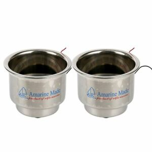 4pcs Amarine made Boat 8 Led Blue Stainless Cup Drink Holder With Drain Us Ship