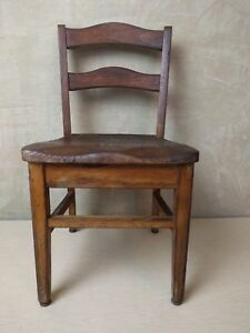 Vintage Old Child Youth Solid Oak School Church Chair Nursery 2