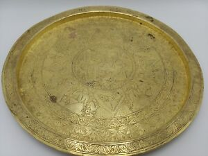 Antique Vintage Indian Brass Hand Carved Old Tray