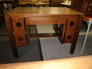 Antique Mission Oak Library Desk Table Stand Heavy One Drawer