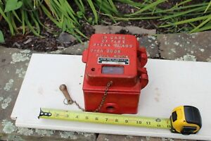 Antique Firefighter Old Fire Alarm Pull Station With Glass Break Hammer