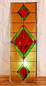 Old Stained Glass Window Stunning Colors Old Glass 38 X 12 Inch