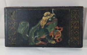 Early Hand Painted Tin Box With Chinese Foo Dog Painting
