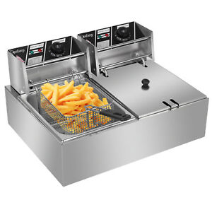 Zokop 5000w Electric Deep Fryer 12l Dual Tank Fry Machine Commercial Restaurant