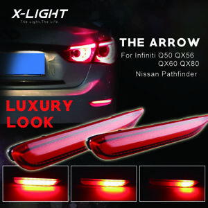 Red Lens Led Brake Lights W sequential Turn Signal Fits Infiniti Q50 Qx Nissan
