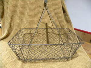 Primitive Style Rust Brown Chicken Wire Egg Gathering Basket Wood Handle