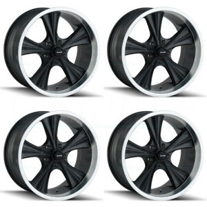 18x9 5 Ridler 651 5x4 75 5x120 65 0 Matte Black Machined Lip Wheels Rims Set 4