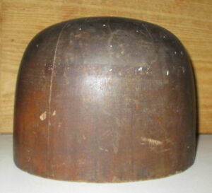 Antique Millinery Wood Hat Block Form Mold With 23 Base Circumference