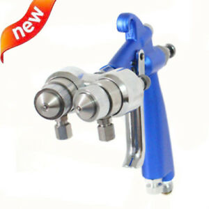Air Brush Hvlp Spray Gun Air Compressor Double Nozzle Nanometer Paint Sprayer
