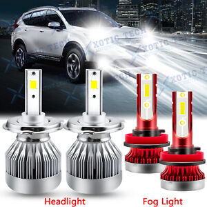 4x 6000k Led Headlight Fog Light Bulbs For Honda Hr v 15 18 Fit 07 19 Cr v 07 14