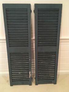 Vintage Antique Wood House Shutters Louvered Very Solid And Ready To Go