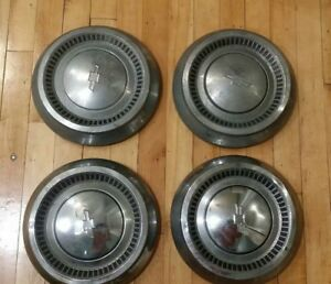 Set Of 4 1964 Chevy Bel Air Biscayne Impala 409 Dog Dish Hubcaps