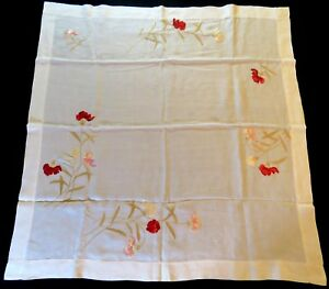 Antique Tablecloth Embroidered White Society Silk Embroidery Table Cover Runner