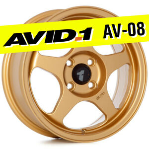 Avid 1 Av 08 15x6 5 Gold 4x100 35 Wheels Set Of 4 Spoon Style Jdm Rims