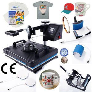 5 In 1 Heat Press Machine T shirt Mug Plate Hat W A4 Transfer Paper Fixed Glue
