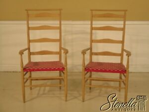 43092 Pair Nichols Stone Shaker Style Ladder Back Arm Chairs