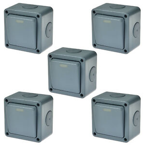 5pk Waterproof Power Switch Panel Junction Box Case Ip66 Outdoor Security 10a