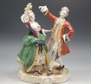 Volkstedt Germany Antique Rococo Couple Dancing Large Sculpture
