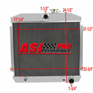 4 Row Aluminum Radiator For 1955 1956 1957 Chevy Bel Air Fits 6cyl Core Supports