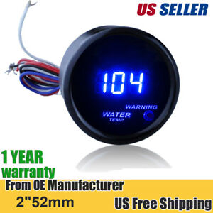 2 52mm Cover Car Universal Digital Blue Led Water Temp Gauge Fahrenheit F