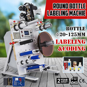 150w Round Bottle Labeling Machine Labeler Code Date Coding Printer Plc Control