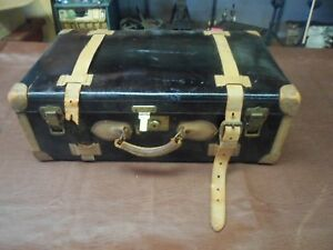 Antique Travel Trunk Leather Straps Tie Downs Beautiful Condition Glossy Blak
