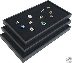 3 Black Ring Jewelry Display Case Orgnizer Insert New
