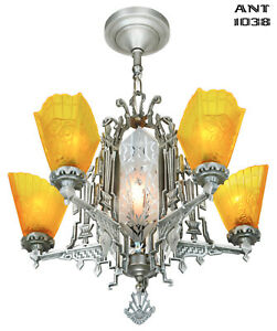 Art Deco Slip Shade Chandelier With Cut Glass Center Panels Ant 1038