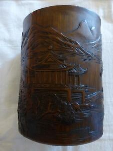Antique Chinese Carved Bamboo Brush Holder Pagoda 6 75 Tall Cracks