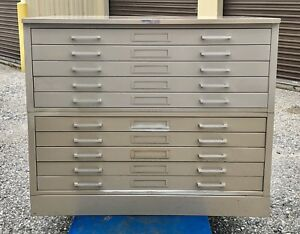 Hamilton Steel 10 Drawer 2 Blueprint Filing Cabinet 43 X 33 With Top