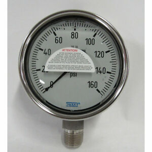 Wika 9361120 Hydraulic Gauge 160 Psi 4 In Face lower Mount lm 1 2 Npt
