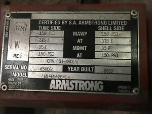 Armstrong Heat Exchanger Wd 69 26 1 Believed To Be A 1 000 000 Btu