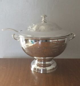 Antique Soup Tureen With Matching Ladle Silver On Copper