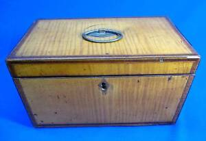 Early Georgian Tiger Maple Two Compartment Tea Caddy Circa 1820