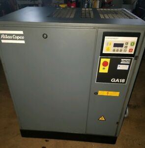 Atlas Copco 25 Hp Rotary Screw Air Compressor Model Ga 18 Cfm 104