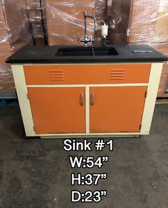 4 1 2 Laboratory Sink Bench With Metal Cabinerty Epoxy Top Hot cold Faucet