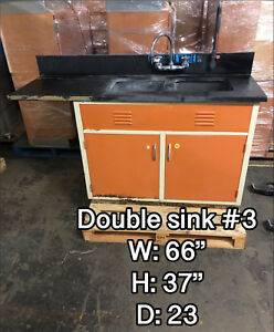 5 1 2 Laboratory Double Sink With Metal Bench Epoxy Top Hot cold Faucet