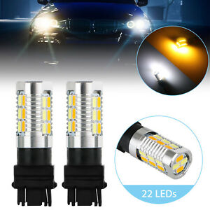 2pcs 3157 22 Led Dual Color Amber White Switchback Turn Signal Stop Led Bulbs