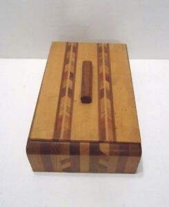 Vintage Wood Chevron Arrow Inlay Storage Box With Lift Off Top