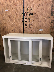 Lab Casework Glass Overhead Cabinet White tan 48 x30 x16 Deep