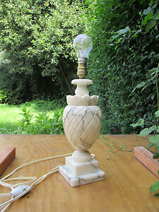 Vintage White Carved Marble Pineapple Table Lamp Alabaster Made In Italy