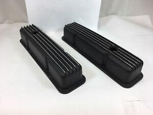 58 86 Sbc Chevy 350 Finned Black Polished Fins Aluminum Tall Valve Covers 400