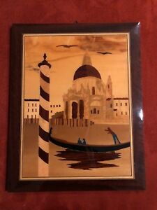 Italian Inlaid Marquetry Wood Wall Hanging Plaque