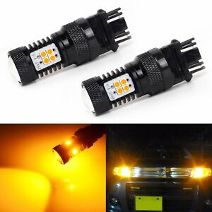 2x Amber Yellow 3157 4157 3457 3057 3030 Smd Led Bulbs Turn Signal Parking Lamps