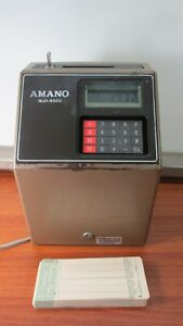 Amano Mjr 8000 Computerized Time Clock With 98 Time Cards Printed Manual Key