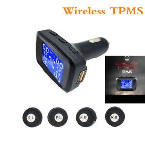 Wireless Tpms Car Tire Pressure Monitoring Cigarette Lighter Power Alarm Systems