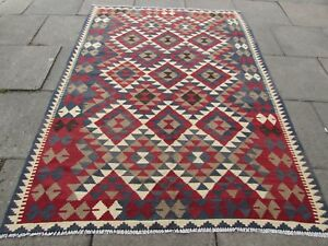 Kilim Old Traditional Hand Made Afghan Oriental Brown Wool Kilim 242x176cm